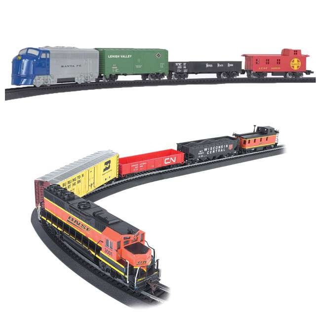 BT-00957 + BT-00706 Bachmann HO Scale Battery Power Rail Champ & Electric Rail Chief BNSF Freight Train Sets
