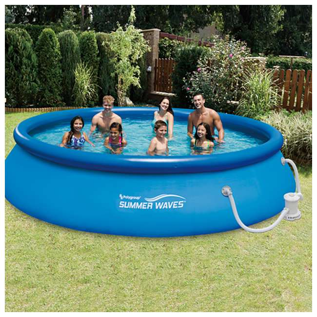 Summer Waves 15 Foot Quick Set Inflatable Ring Pool With