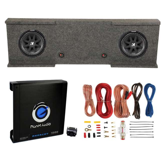 43C124 + GMC12-2007-4DR + AC15001M + AKS8 Kicker 12-Inch 600W Subwoofers (2) + GMC Dual Sub Box + 1500W Amplifier + Wiring Kit