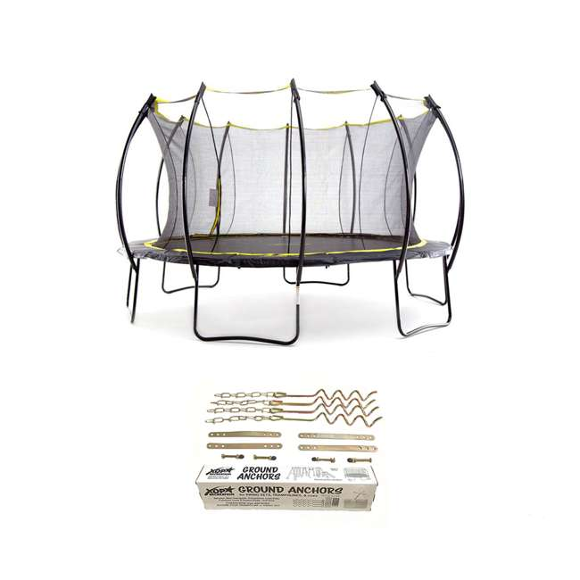 SB-T14STR01-BOX1 + SB-T14STR01-BOX2 + SB-T14STR01- SkyBound Stratos 14 Foot Steel Trampoline + XDP Metal Ground Anchor Kit
