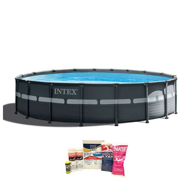 "26329EH + QLC-42003 Intex 18'x52"" Ultra XTRA Frame Pool w/ Pump & Cleaning Kit"