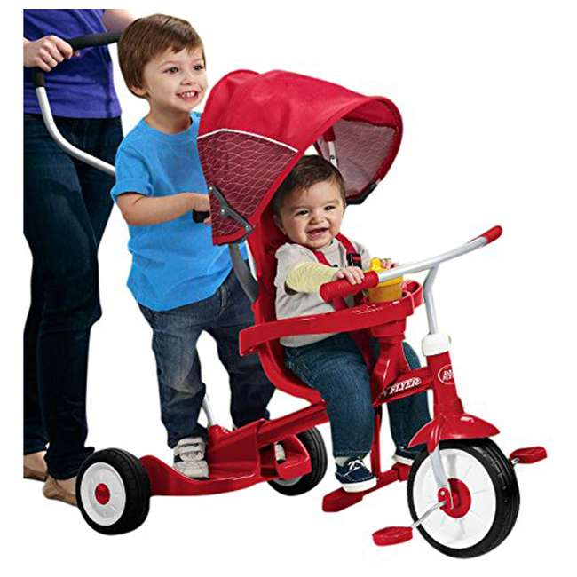 499 Radio Flyer 499 Kids' Toddlers Ride and Stand Stroll 'N Trike, Red