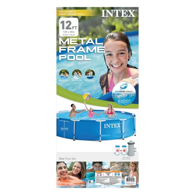28211EH-U-A Intex 12 x 2.5 Foot Metal Frame Above Ground Pool and Filter (Open Box) (2 Pack) 1