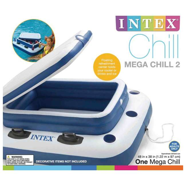 6 x 58821EP-U-A INTEX Mega Chill II Inflatable Floating Beverage Cooler  |   (Open Box) (6 Pack) 3