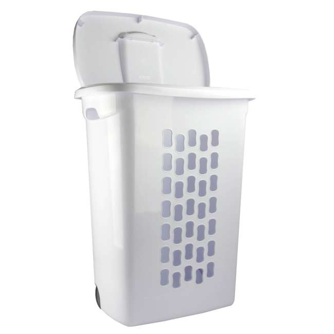 4 x 12228003 Sterilite White Laundry Hamper With Lift-Top, Wheels, And Pull Handle (4 Pack) 3