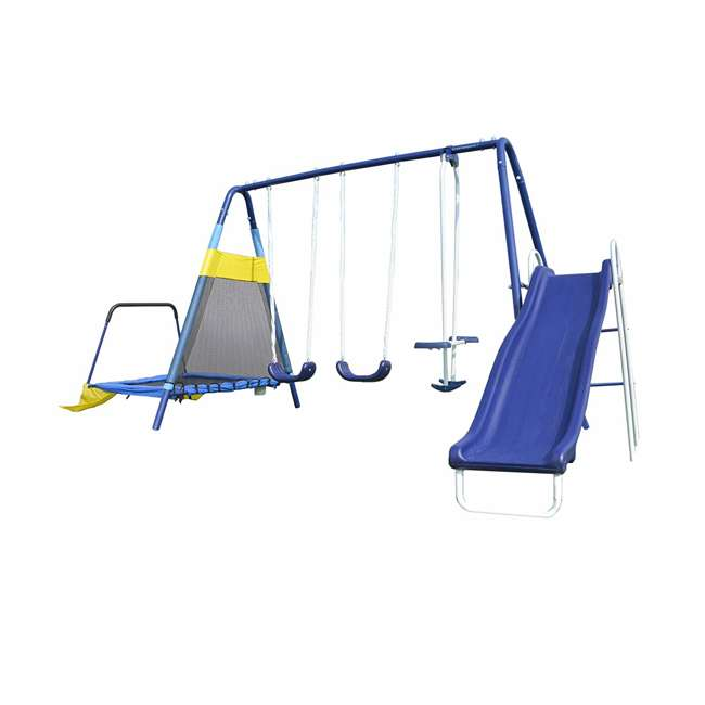 MSC-3242-BM Almansor Metal Outdoor Swing Set with Trampoline