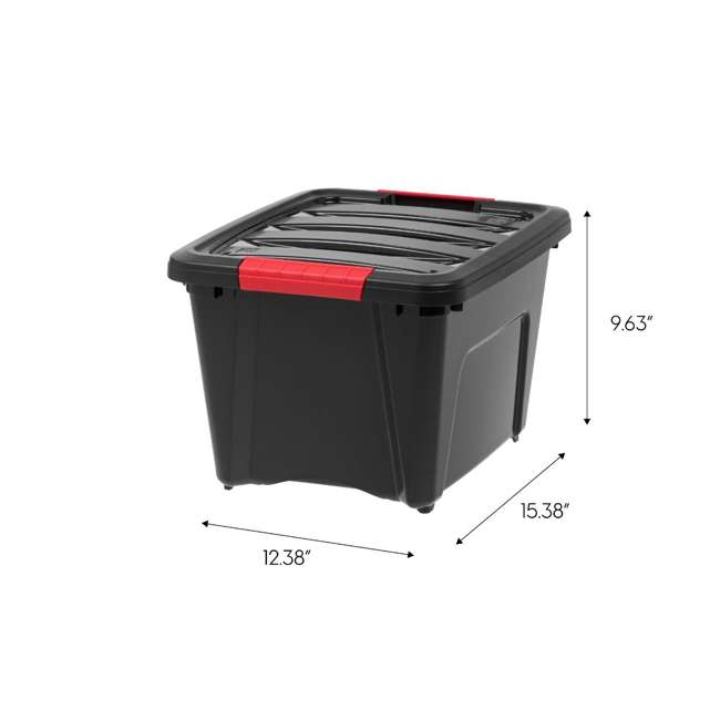6 x 588253 IRIS USA Stack and Pull 19 Quart Storage Tote Container Box, Black (6 Pack) 6