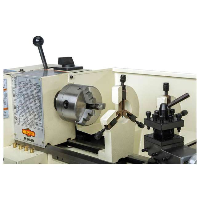 M1049 Shop Fox M1049 9 by 19 Inch Bench Top Metal Lathe with Three Jaw Scroll Chuck 4
