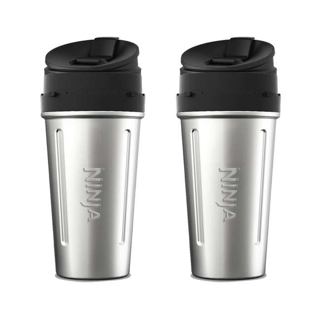 XSWDWSS24W Ninja 24-Ounce Stainless Steel Nutri Ninja Cup for Auto-IQ Series (2 Pack)