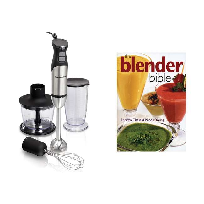 59766 + BLEND-BIBLE Hamilton Beach 59766 Variable Speed Hand Blender with The Blender Bible Cookbook