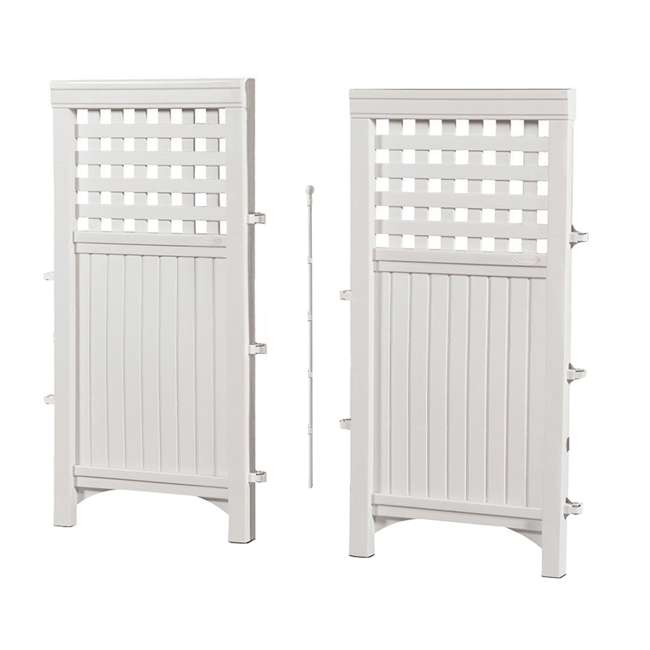 3 x FS4423D-U-B Suncast Garden Yard 4 Panel Screen Enclosure Gated Fence, White (Used) (3 Pack) 2