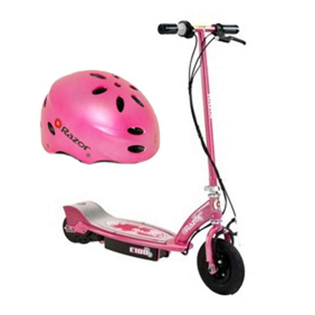 13111263 + 97783 Razor E100 Electric Scooter (Sweet Pea) with Youth Helemet (Pink)