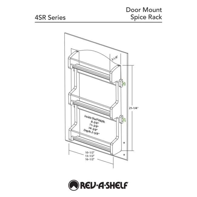 4SR-21 Rev-A-Shelf 21 Inch Cabinet Door Mount Wood 3 Shelf Spice Rack with Hardware 5
