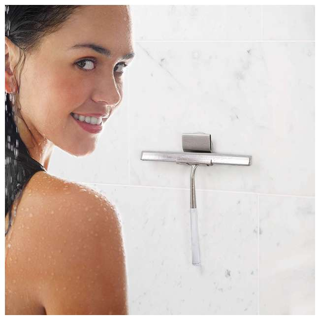 18099 Better Living Linea Rust Proof Stainless Steel Shower Squeegee with Suction Hook 4