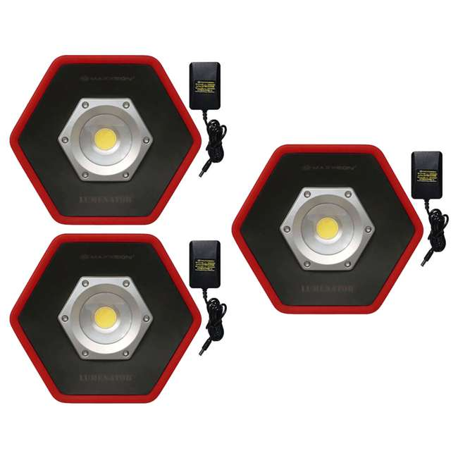 3 x MXN05000 Maxxeon Workstar 5000 Lumenator Commercial Grade LED Work Light, Red (3 Pack)