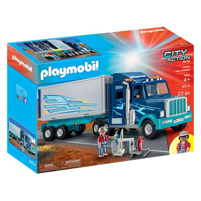 9314 Playmobil 9314 Big Rig w/ Action Figure and Semi Truck & Trailer Play Set, Blue