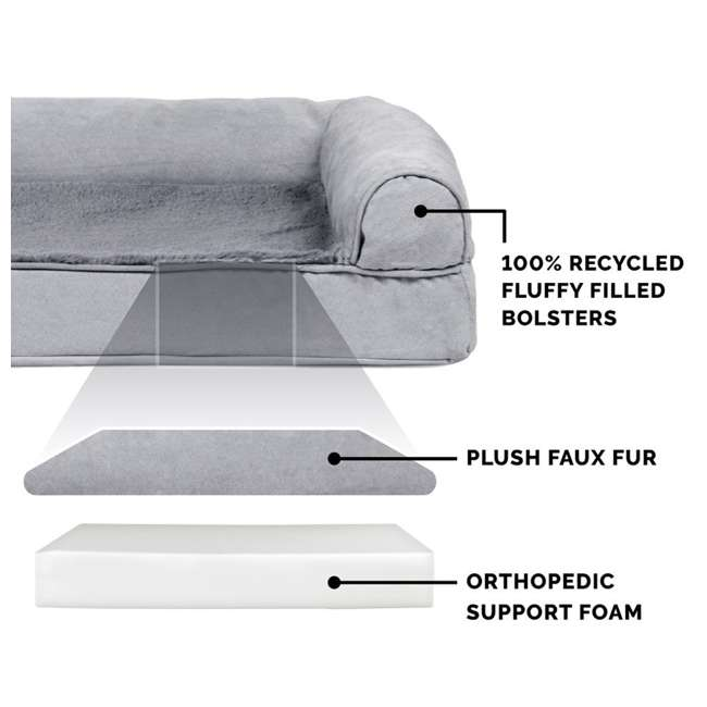 45636087 Furhaven Orthopedic Foam Ultra Plush & Suede Sofa Dog Bed, Gray, Jumbo Plus 3