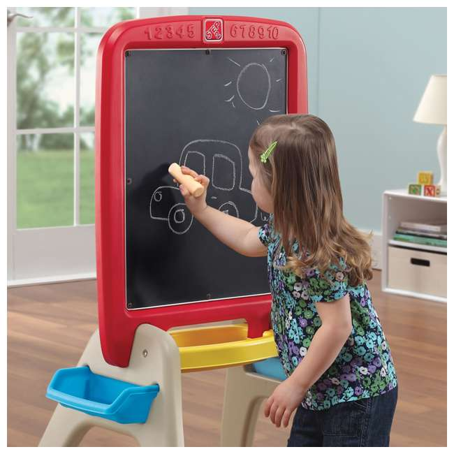 826800 Step2 All Around Easel for Two Kids Dry Erase Chalkboard Easel 4