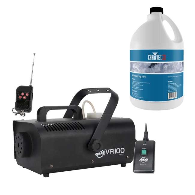 VF1100 + HDF ADJ VF1100 Portable 1 Liter Fog Machine with High Density Fog Juice, 1 Gallon