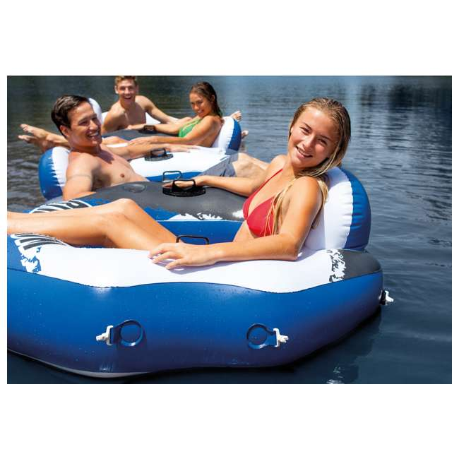 56855VM + 2 x 58854EP Intex American Flag 2 Person Float w/ River Run 1 Person Tube, Blue (2 Pack) 8