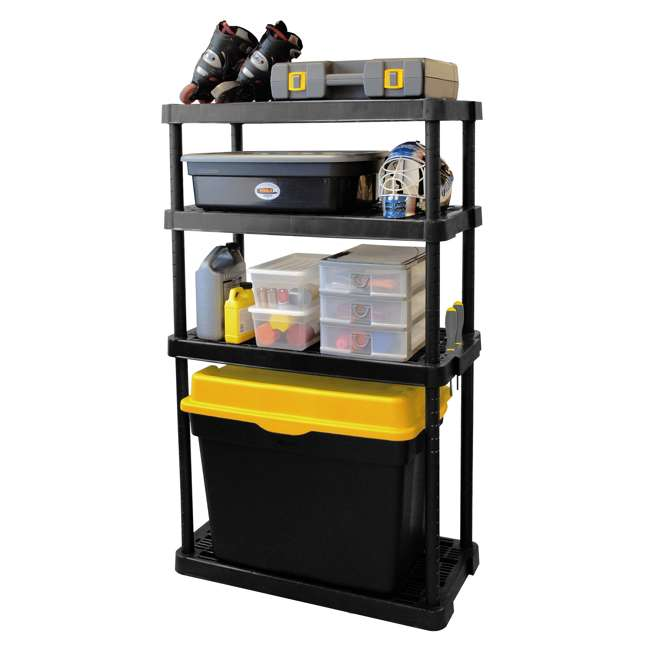 3 x GL91074MAXIT-1C Gracious Living 4-Tier Resin Garage Storage Shelf, Black (3 Pack) 2