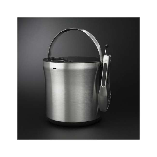 3107300 OXO 3107300 Stainless Steel Insulated Ice Bucket with Clear Lid and Tong Set 3