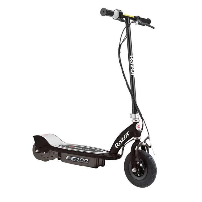 13110097 + 97778 Razor E100 Black Electric Scooter And Razor V17 Youth Helmet 1