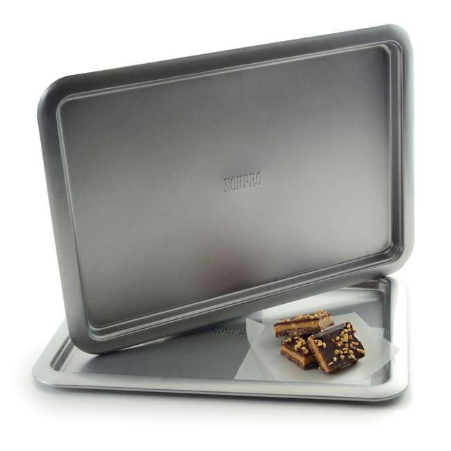 """3877 Norpro Non Stick 16.5"""" Steel Rimmed Full Baking Cookie Sheet, Silver (2 Pack) 2"""
