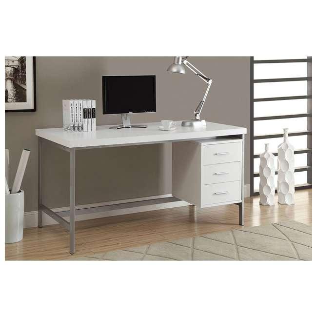 "MS-VM7046-U-A Monarch Specialties 60"" Contemporary Computer Desk w/ Drawers, White (Open Box) 1"