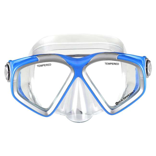 SR259O4015ML-U-A U.S. Divers Adult M/L Snorkeling Mask, Snorkel, Fins Set w/ Bag, Blue (Open Box) 1