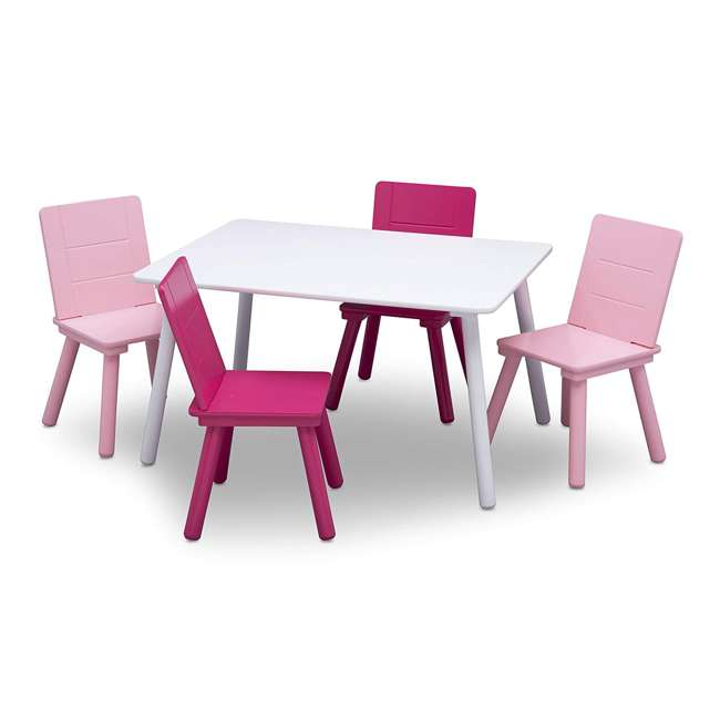 TT87413GN-130 Delta Children Kids Wooden Play Activity Table and 4 Chair Set, White & Pink 2