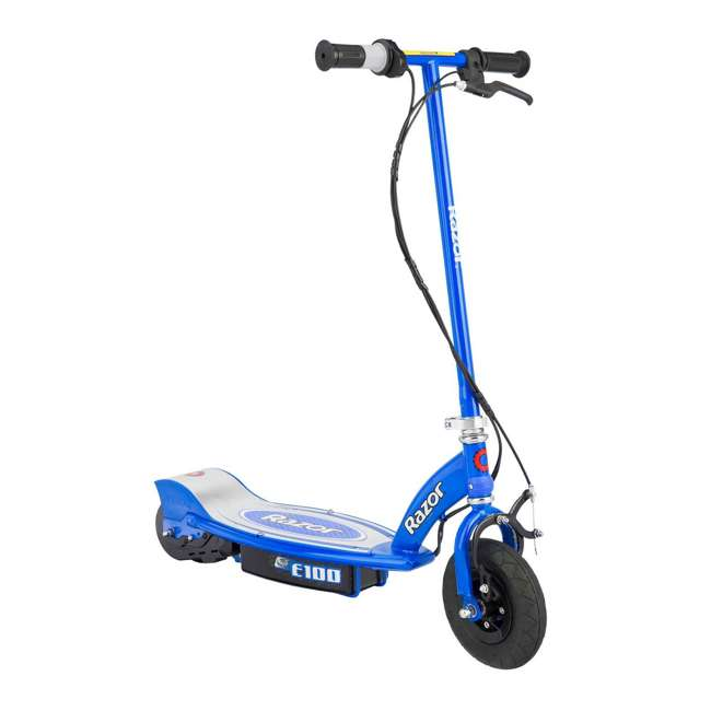 13111240 + 13111263 Razor E100 Kids 24 Volt Electric Powered Ride On Scooter, Blue & Pink (2 Pack) 1