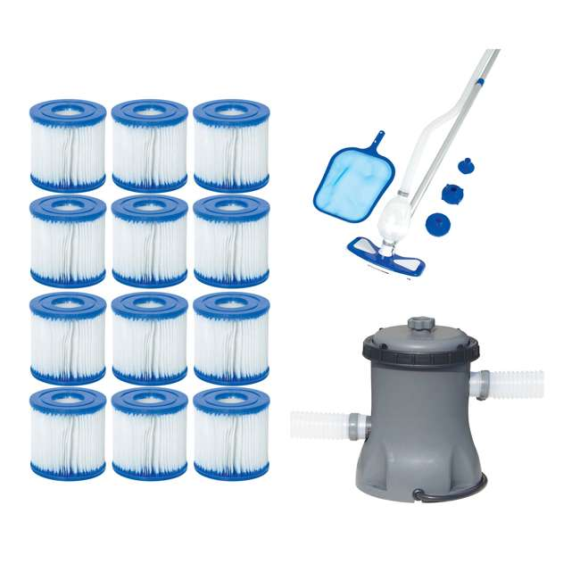 Bestway Type VII/D Filter Cartridges + Pool Cleaning Kit + Pool Filter Pump