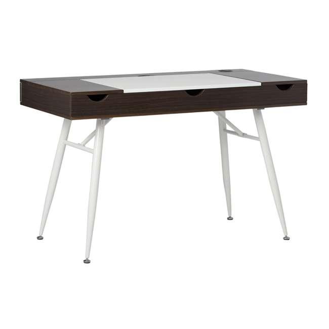 51251 Calico Designs 51251 Nook Desk with Storage Compartments, White/Dark Walnut