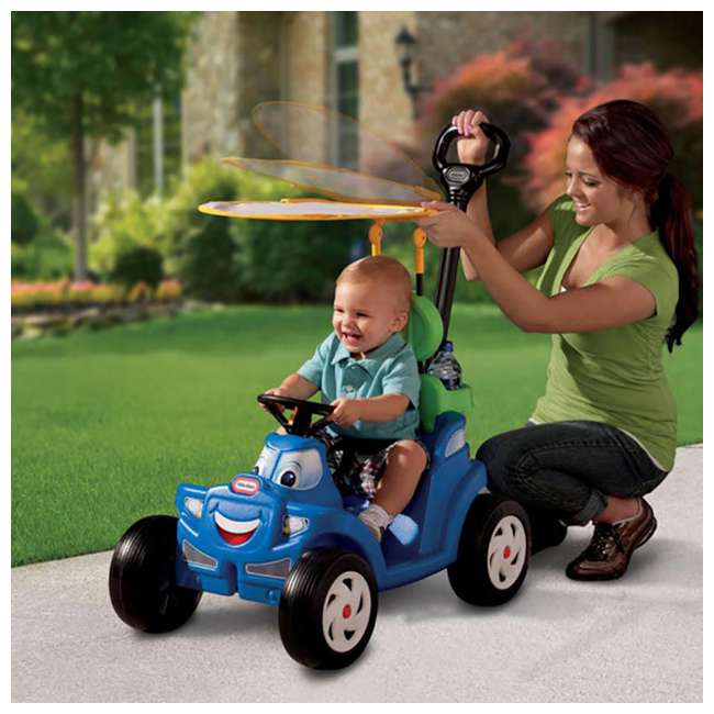 622069MP Little Tikes Deluxe 2 in 1 Cozy Roadster Toddler Kids Push Car Ride On Toy, Blue 3