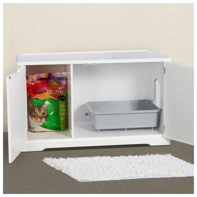 MPS010-U-D Merry Products Bench with Enclosed Cat Litter Washroom Box, White (Damaged) 4