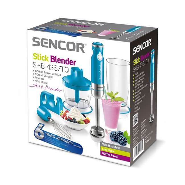 SHB4367TQ-NAA1 Sencor SHB4361BL-NAA1 350 Variable Speed Stainless Steel Hand Blender, Turquoise 1
