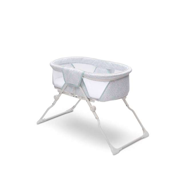 25402-2297 Delta Children EZ Fold Ultra Compact Travel Bassinet Baby Crib, Mirage White 1