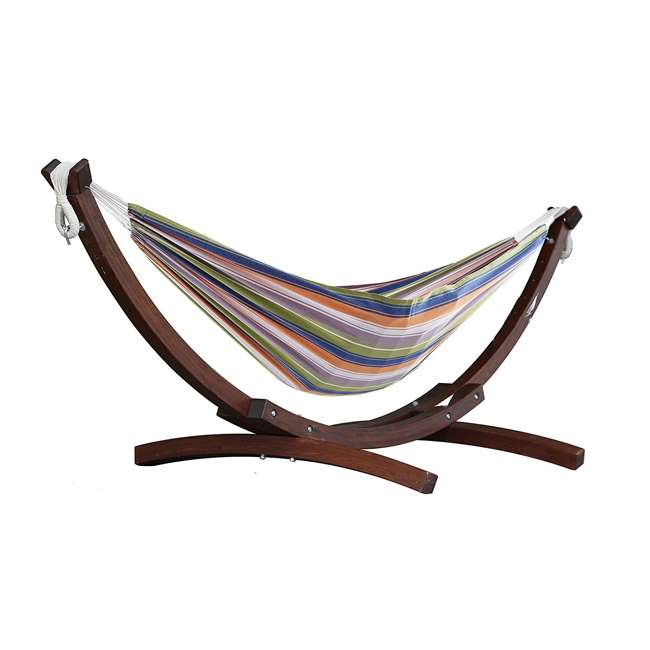 C8SPCT-31 Vivere Double Cotton 2-Person Hammock with Solid Pine Stand (2 Pack) 1