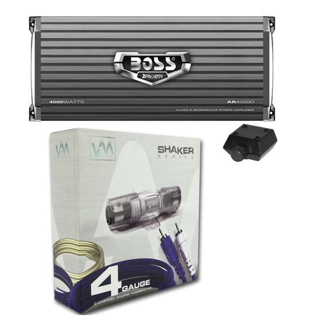 AR4000D + 4GAMPKIT-SFLEX Boss AR4000D Armor 4000W Mono D Amplifier with Remote with 4 Gauge Amp Kit