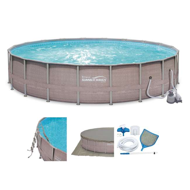 "P4G024521167 + QLC-42005 Summer Waves 24' x 52"" Above Ground Pool Set + Qualco Chemical Maintenance Kit 1"