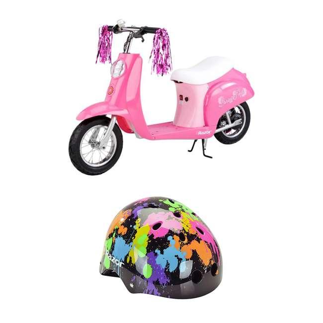 15130659 + 97913 Razor Pocket Electric Retro Kids Scooter, Pink & Youth Sport Helmet, Multi Color