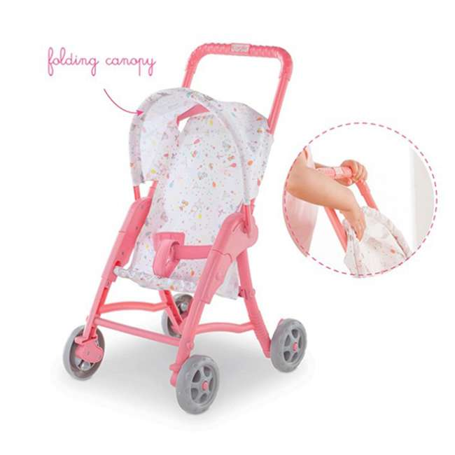 FRN90 Corolle Mon Premier Poupon Folding Toy Canopy Stroller for 12 Inch Baby Dolls