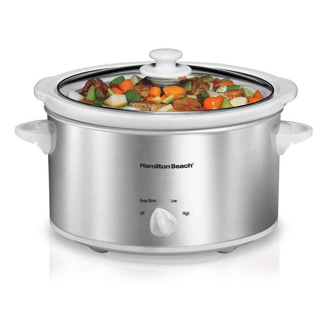 33140V + SLOWCOOKER175 Hamilton Beach Counter Top 4 Quart Oval Slow Cooker Pot & 175 Recipe Cookbook 1