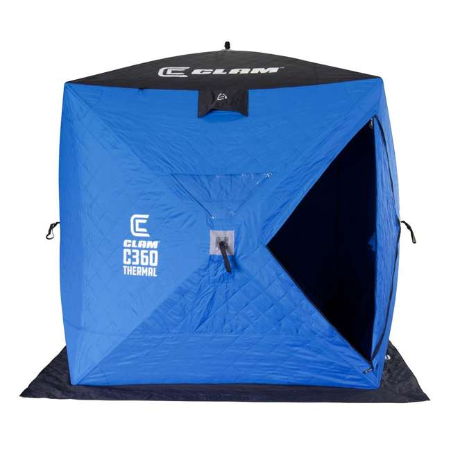 CLAM-14475 Clam 14475 C-360 Thermal 6 x 6 Foot Pop Up Ice Fishing Angler Hub Shelter, Blue