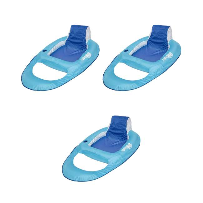 3 x 6047199-SW SwimWays Swimming Pool Spring Float Recliner, Blue (3 Pack)