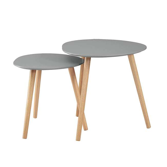 S20-303 Convenience Concepts S20-303 Oslo Modern Sturdy Wood Nesting End Tables, Gray 1