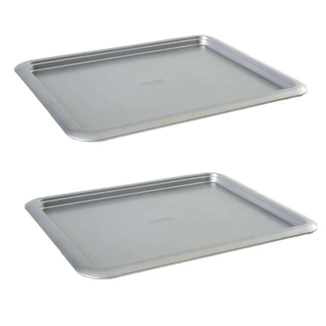 """3877 Norpro Non Stick 16.5"""" Steel Rimmed Full Baking Cookie Sheet, Silver (2 Pack)"""