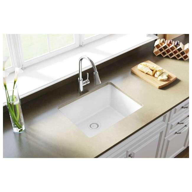 Elkay Quartz Classic 24-Inch Rectangular Undermount Sink,White