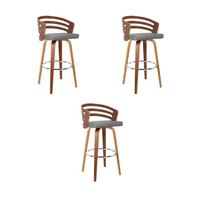 3 x LCJYBAGRWA26 Armen Living Jayden 26 Inch Mid Century Swivel Barstool Chair, Gray (3 Pack)